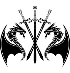 Dragons and swords stencil vector