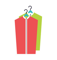 Dry cleaned clothes on the hanger vector