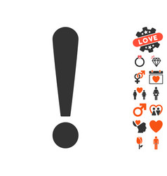 Exclamation sign icon with valentine bonus vector