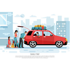Family travel car poster vector