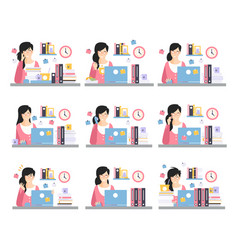 Female office worker daily work scenes with vector