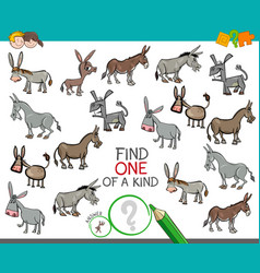 Find one a kind with donkeys animal characters vector