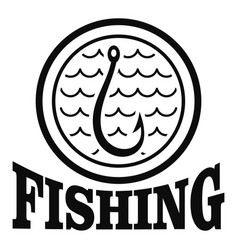 fishing hook logo simple style vector image