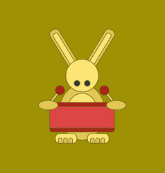 flat icon on background kids toy rabbit drummer vector image