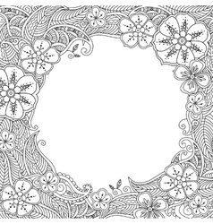 Floral hand drawn round frame in entangle style vector