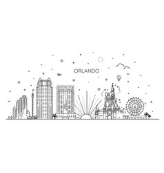 florida linear banner orlando city vector image