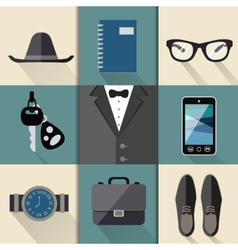 Gentleman business suit set vector