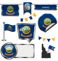 Glossy icons with Idahoan flag vector