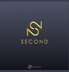 Gold letter s and double number 2 logo concept vector