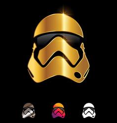 Golden star wars helmet sign vector