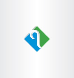 green blue letter q logo logotype icon vector image