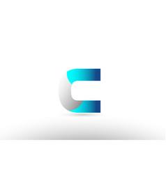 Grey blue alphabet letter c logo 3d design vector