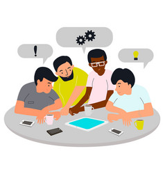 group young men are discussing a new startup vector image