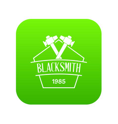 hammer blacksmith icon green vector image