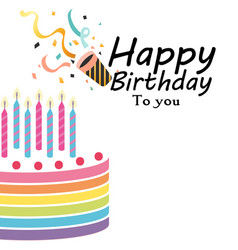 happy birthday to you cake horn background vector image