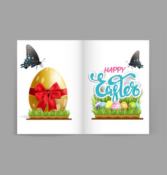 happy easter card banner poster postcard vector image