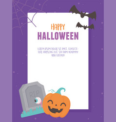 happy halloween banner celebration tombstone vector image