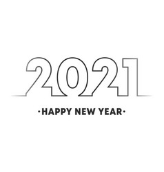 happy new year 2021 minimal line design for vector image