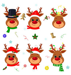 happy new year and merry christmas set six vector image