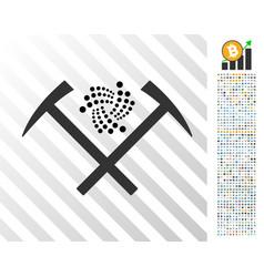 Iota mining hammers flat icon with bonus vector