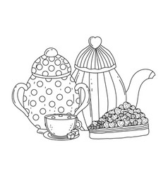 Isolated sugar bowl and coffee pot design vector