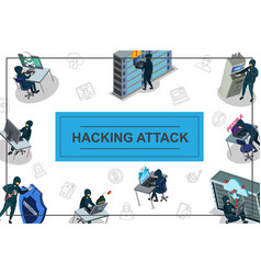 isometric hacker activity concept vector image