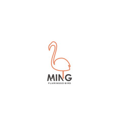 line art flamingo bird logo design vector image