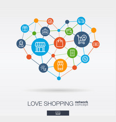 love shopping integrated thin line icons in heart vector image