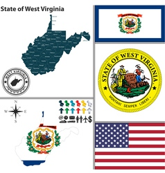 map west virginia with seal vector image