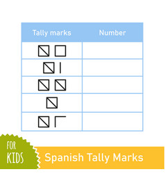 Math task with spanish tally marks counting game vector