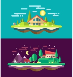 Modern flat design conceptual landscape with build vector image