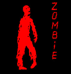 One-armed zombies silhouette in black and red vector