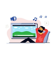 people stay home and listening music to meditation vector image
