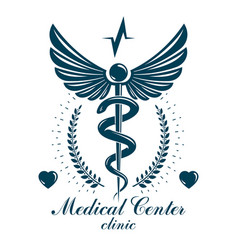 pharmacy caduceus icon medical logo created with vector image