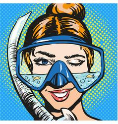 pop art woman in scuba vector image