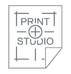 Print studio logo simple style vector