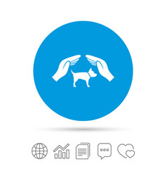 Protection of animals pets sign icon hands vector