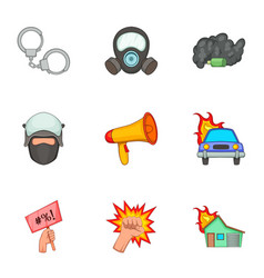 Public disorder icons set cartoon style vector