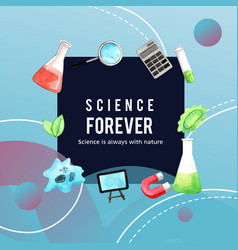 Science wreath design with magnifying test tube vector