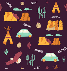seamless pattern with famous landmarks symbols vector image