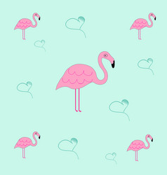 Seamless tileable texture with flamingo and hearts vector