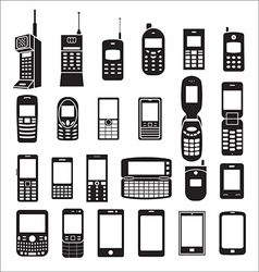 set mobile phone icons vector image