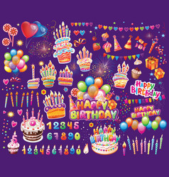 set of elements for birthday party vector image
