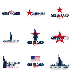 Set of green card lottery logos or emblems vector