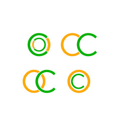 set of initial letter oc logo design template vector image
