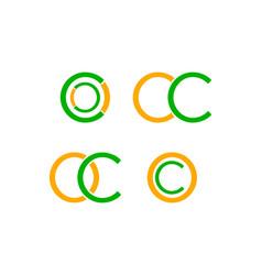 set of initial letter oc logo design template vector image