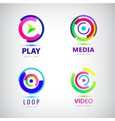 set of play logos media video vector image