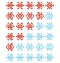 Set of red rating snowflakes over white vector