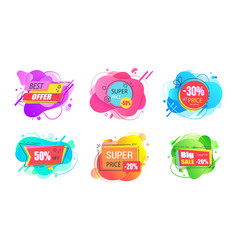 set sale labels abstract liquid shapes isolated vector image