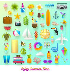 Set summer vacation and travel items vector